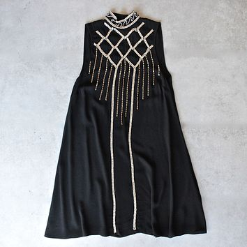 Final Sale - Minkpink - Opulent Embroidered Swing Dress in Black