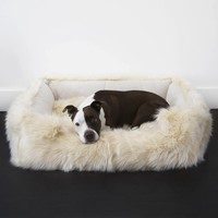 Faux Fur Shag Lounger Orthopedic Luxury Dog Bed