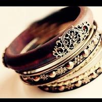 Wooden Bangle Bracelets with Bronze Detailings