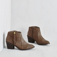 Boho Lay of the Portland Bootie in Taupe