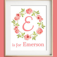Girls Wall Art, Coral Nursery Decor, Custom Name Print, Baby Girl Nursery, Baby Gift, Coral Nursery Decor, Personalized Baby, new mom gift