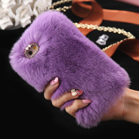 Luxury Rabbit Fur Case For Iphone 6S 6Plus 7 7Plus Super Soft Plush Furry Hard PC Back Cover Cases For Iphone 6S 6Plus Iphone7 -0316