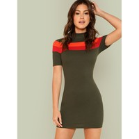 Contrast Tape Rib Knit Dress