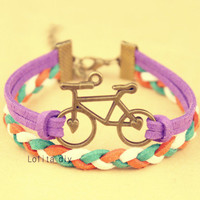 Ancient bronze bicycle alloy bracelet, the best gift for your friends and loved ones, and lovely colored wax rope chain bracelet