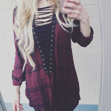 Crossing Paths Lace Up Top - Burgundy