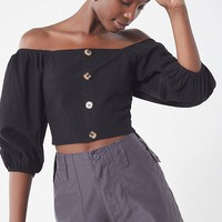 J.O.A Blouson Off-The-Shoulder Cropped Top | Urban Outfitters