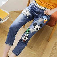 Clothes New Cartoon Printed Women Ripped Jeans New Fashion Hole Lady Denim Pants Casual Distressed Ankle-Length Jeans 62450