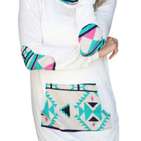 Geo Print Pocket Front Hooded Sweatshirt