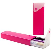 JAM Paper® Pencil Cases - Sliding Pencil Case with Button Snap - Hot Pink - Sold Individually