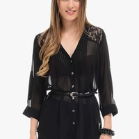 Black Sassy Button Up Belted Blouse   $10   Cheap Trendy Blouses Chic Discount Fashion for Women  