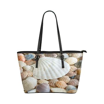 Tote Shoulder Bag with Clam Shell Sea life Design