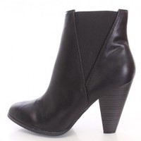 Black Pointed Toe Ankle Booties Faux Leather