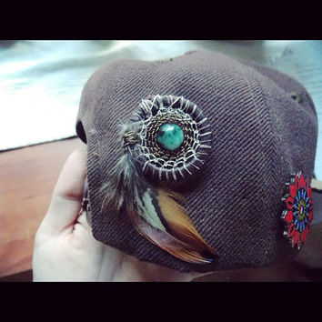 Sacred Geometry Heady Dream Catcher Hat Pin with Tree Agate // Festival Head Accessory