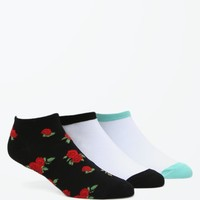 Young & Reckless Roses Ankle Socks Set - Womens Scarves - Black - One