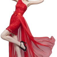Beautifly Women's One Shoulder Red Lace Evening Dress