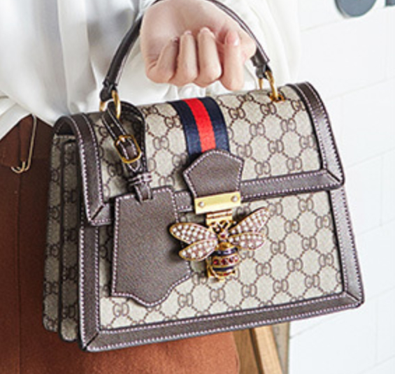 Image of New fashion leather bee large capacity one-shoulder portable messenger female bag