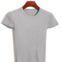Vertical Striped Knitted T-shirt
