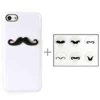 JAVOedge White and Black Apple iPhone 5/5S Mustache Back Cover Protective Case Holder with Camera Cut Outs