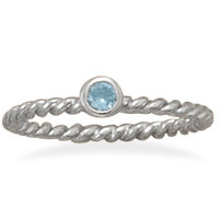 Light Blue Glass Stackable March Birthstone Ring
