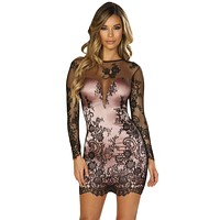 Sexy Be Careful Sleeved Eyelash Lace and Pink Satin Mini Dress