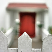 Red Door Beyond the Fence Photograph 8x10 Fine Art Print by Briole