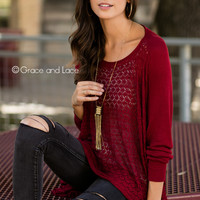 Grace & Lace Open Knit Light Weight Two Fit Knit Cardigan