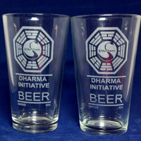 Lost Dharma Initiative Beer Set of TWO Etched Pint Glasses The Swan