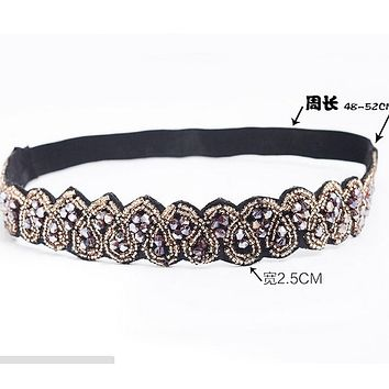 Vintage Bohemian Ethnic Gold Seed Beads Faceted Metal Beads Heart Handmade Elastic Wide Headband Hair Band Hair Accessories