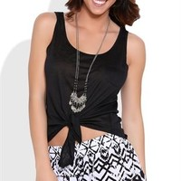 High Low Tank Top with Tie Front and Pocket