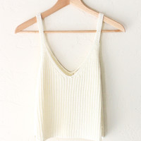 Sweater Crop Tank Top - Ivory