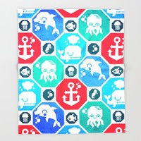 Marine Animals Geometric Pattern Throw Blanket by Chobopop