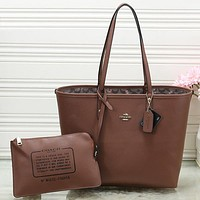 COACH Women Shopping Leather Tote Crossbody Satchel Shoulder Bag Set Two Piece