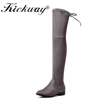 Kickway Stretch Thigh High Faux Suede Over the Knee Boots Sexy square heel Boots Large Size 34-43 Slip-on Shoes fashion boots 42