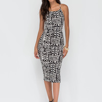 Sticks And Stones Abstract Midi Dress