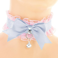 Pink blue satin lace choker, collar cosplay pastel, kawaii collar, lolita costume, neko girl, kittenplay, kitten pet play, ddlg, puppy, T9
