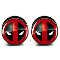 1 pair deadpool acrylic screw ear plug gauges tunnel flesh tunnel body piercing jewelry PAP0089