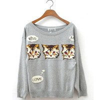 Fashion Women New Cute Cats Sweaters Loose Knitted Pullover Tops (Gray)