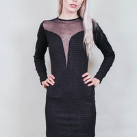 Snakebite - Black faux snakeskin dress with sheer inserts - vegan & cruelty free