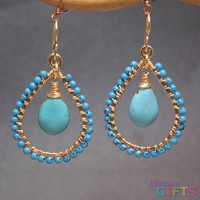 """Hammered hoops with Sleeping Beauty turquoise, 1-3/4"""" Earring Gold Or Silver"""