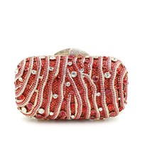 Women Zebra Rhinestone Minaudiere Wedding Box Clutch