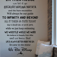 In this house Disney RC111 vinyl wall lettering sticker decal home decor Walt Disney we do Disney