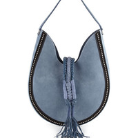 Ghianda Studded Suede Hobo Bag, Denim