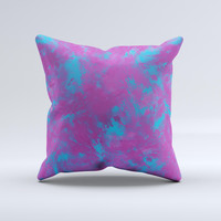 Purple and Blue Paintburst  Ink-Fuzed Decorative Throw Pillow