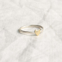 Teeny Tiny Brass Heart Ring. Thin Sterling Silver Ring. Pinky or Knuckle Ring. Made to order. Simple Modern Everyday Jewelry
