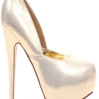 GOLD METALLIC ALMOND TOE ANKLE STRAP PLATFORM PUMPS HEEL