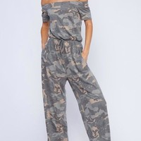 Off the Shoulder Camo Jumpsuit - Olive