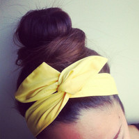 Solid Yellow Dolly Bow Headband