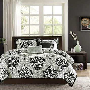 King size 5-Piece Damask White Black Comforter Set