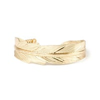 Gold Feather Arm Cuff Bracelet