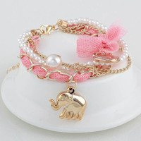 2015 hot sale new Korean fashion lace bow coin preparing the baby elephant bracelet send girls birthday gifts
